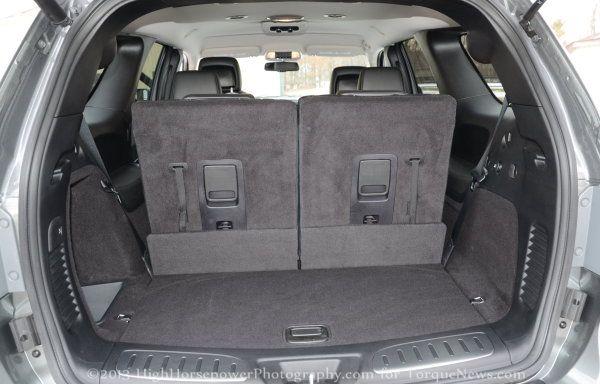 The rear cargo area of the 2013 Dodge Durango RT  Torque
